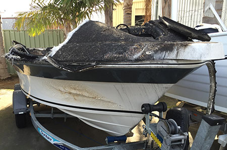 Burnt out boat